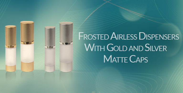 Frosted Airless Dispensers with Gold and Silver Matte Caps