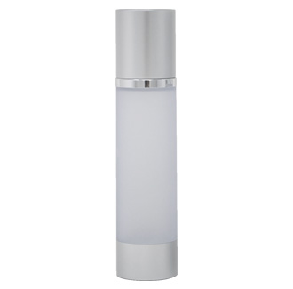 Airless Dispenser Refillable (Frosted Bottle with Silver Matte Base & Cap)