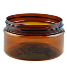 Boston Round Amber PET Plastic Jar
