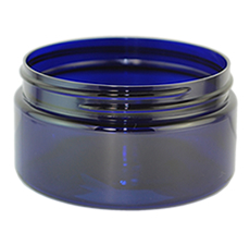 Boston Round Cobalt Blue PET Plastic Jar