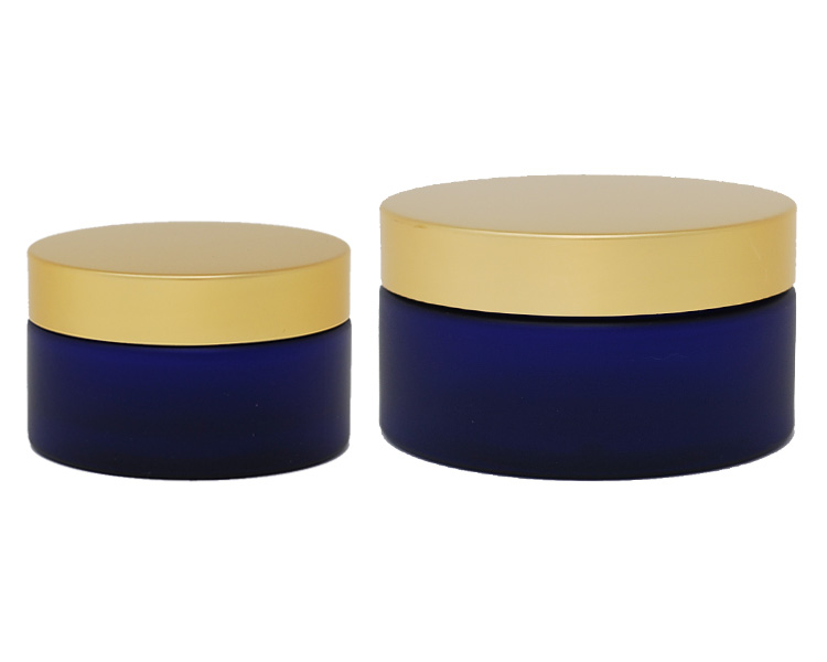 Boston Round Blue Frosted PET Jar With Gold Cap