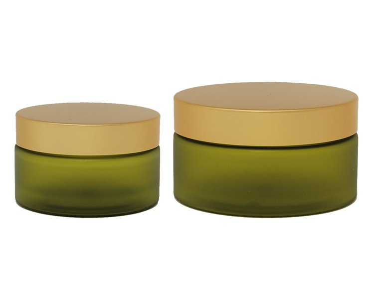 Boston Round Olive Frosted PET Jar With Gold Cap