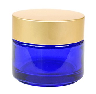 Classic Round Cobalt Blue (Gold Matt Cap) Glass Jar
