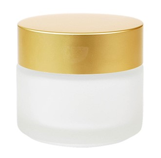 Classic Round Frosted (Gold Matte Cap) Glass Jar